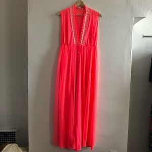 1970's FLUORESCENT PINK CHIFFON NIGHTGOWN